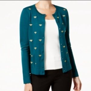 Charter Club Bee Cardigan Metallic Button down